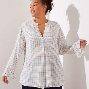 Plaid ruffle sleeve blouse